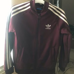 Maroon Adidas Jacket Youth Small